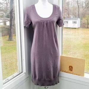 Short Sleeve Gray Rib Scoop Neck Sweater Dress